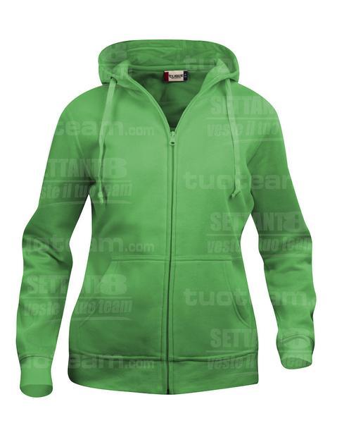 021035 - FELPA Basic Hoody Full zip Lady - 605 verde acido