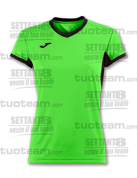 900431 - CHAMPION IV WOMAN MAGLIA MC 100% polyester interlock - 021 VERDE FLUOR/NERO