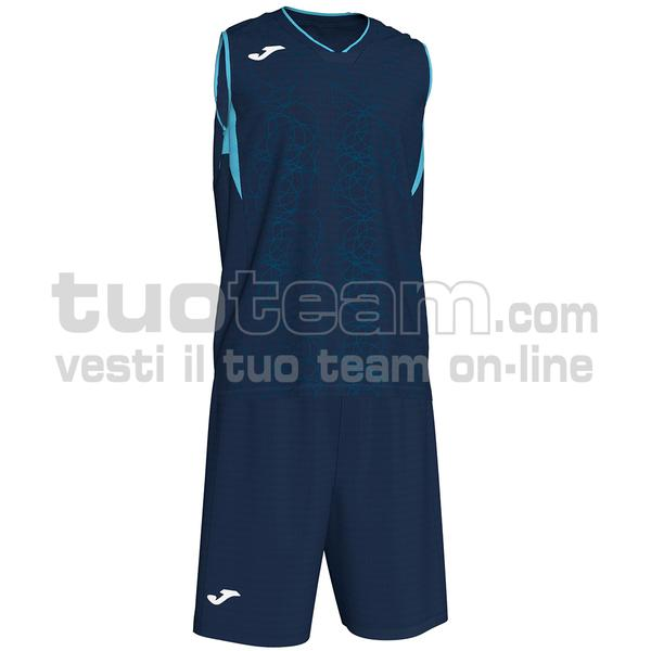101373 - SET CANOTTA + SHORT BASKET CAMPUS 100% polyester interlock - 346 BLU NAVY/TURCHESE