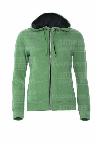 021045 - FELPA Classic Hoody Full Zip Ladies - 676 Verde Melange