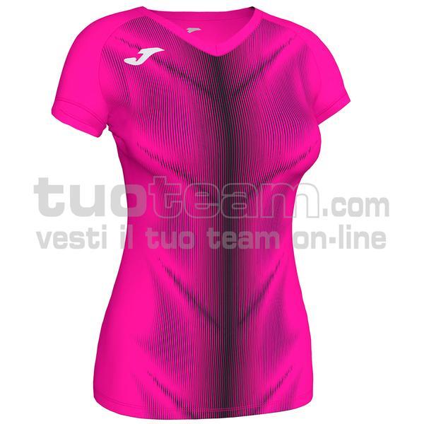 900933 - OLIMPIA WOMAN MAGLIA MC 95% polyester 5% elastane - ROSA FLUO / NERO