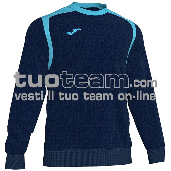 101266 - FELPA CHAMPION V girocollo 100% polyester fleece - BLU NAVY / TURCHESE FLUO