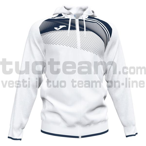 101605 - SUPERNOVA II FELPA FULL ZIP CAPPUCCIO 100% polyester interlock - 203 BIANCO / DARK NAVY