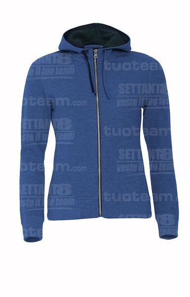 021045 - FELPA Classic Hoody Full Zip Ladies - 565 blu melange