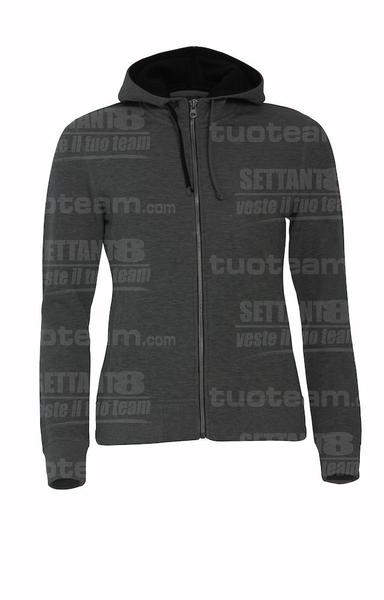 021045 - FELPA Classic Hoody Full Zip Ladies - 955 antracite melange