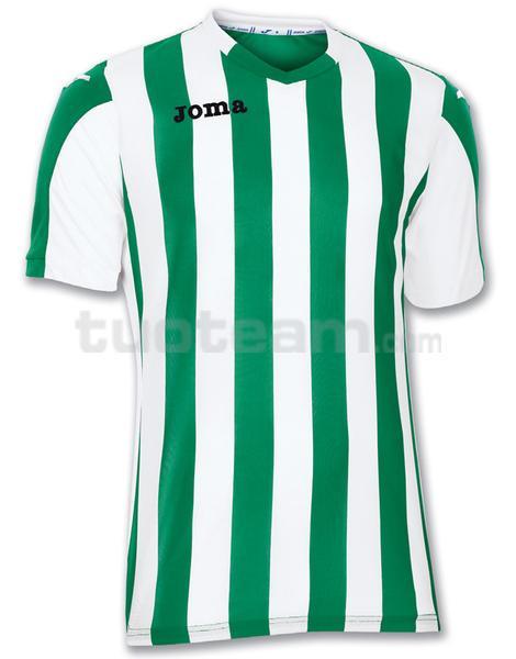 100001 - COPA MAGLIA MC 100% polyester tinto filo - 450 VERDE/BIANCO