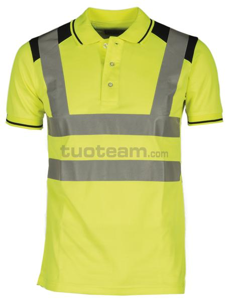 GUARD+ - POLO GUARD + - GIALLO FLUO/BLU NAVY