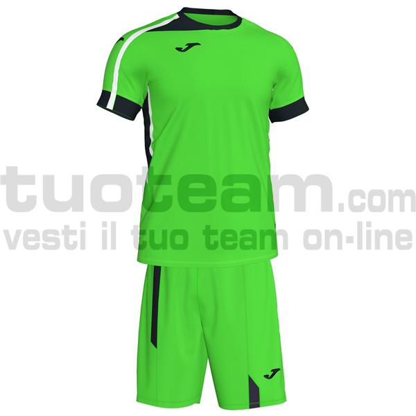101274 - ROMA II SET MAGLIA MC + SHORT 100% polyester interlock - 021 VERDE FLUOR/ NERO