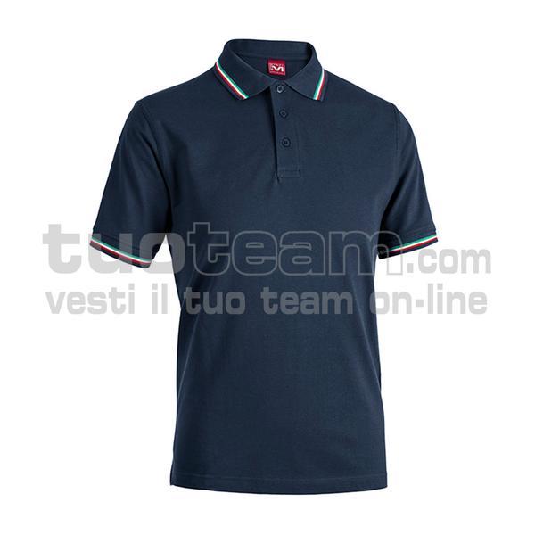 E0416 - Polo CORTEZ SPORT m/c tricolore - BLU NAVY