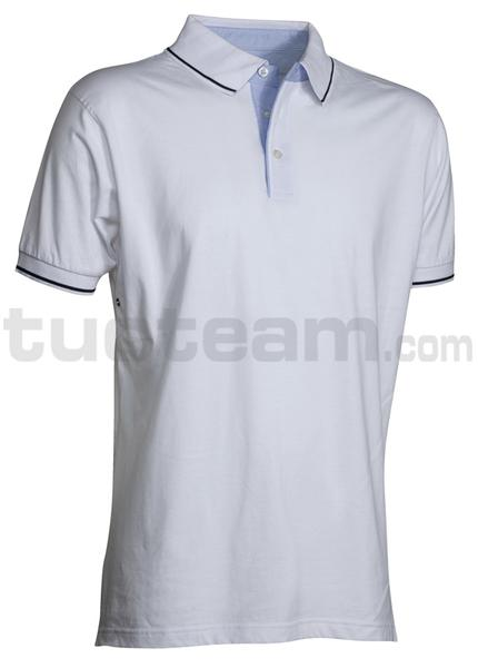 CAMBRIDGE - CAMBRIDGE Polo m/c 100% Cotone - BIANCO/BLU NAVY