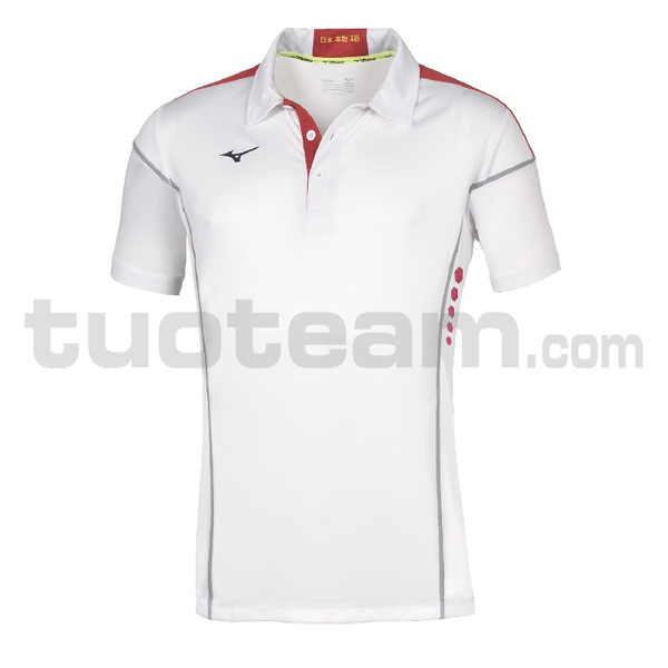 62EA7001 - Hex Rect Polo - White/Red