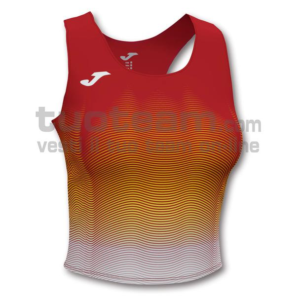 901018 - ELITE VII WOMAN TOP 90% polyester 10% elastane - 602 ROSSO / BIANCO
