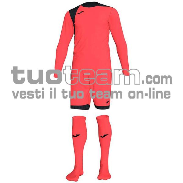 101300 - ZAMORA IV SET MAGLIA ML+SHORT+CALZ. 100% polyester interlock - 041 ARANCIO SCURO FLUOR / NERO