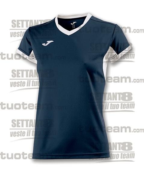 900431 - CHAMPION IV WOMAN MAGLIA MC 100% polyester interlock - 302 BLU NAVY/BIANCO