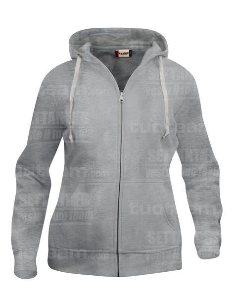 021035 - FELPA Basic Hoody Full zip Lady - 95 grigio melange