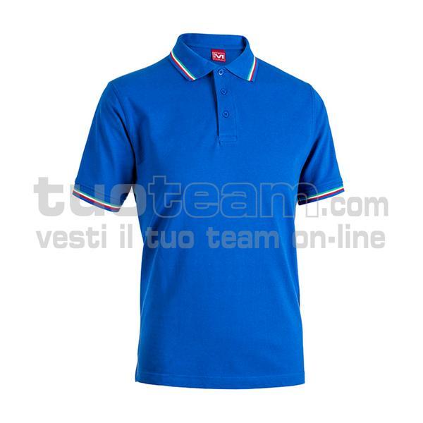 E0416 - Polo CORTEZ SPORT m/c tricolore - BLU ROYAL