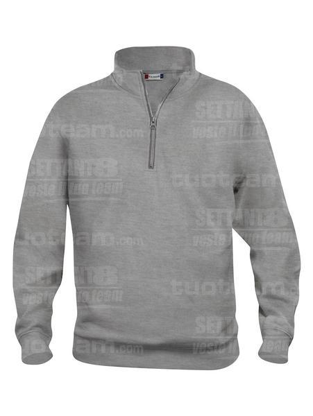 021033 - FELPA Basic Half Zip - 95 grigio melange