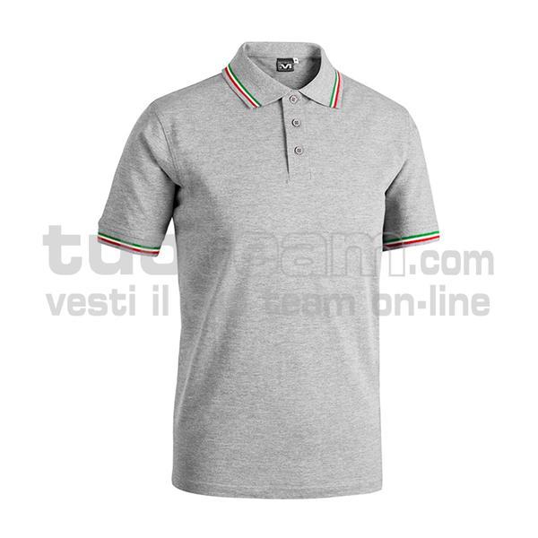 E0416 - Polo CORTEZ SPORT m/c tricolore - GRIGIO MELANGE