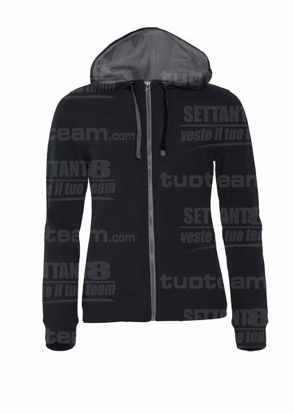 021045 - FELPA Classic Hoody Full Zip Ladies - 99 nero