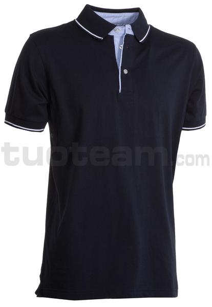 CAMBRIDGE - CAMBRIDGE Polo m/c 100% Cotone - BLU NAVY/BIANCO