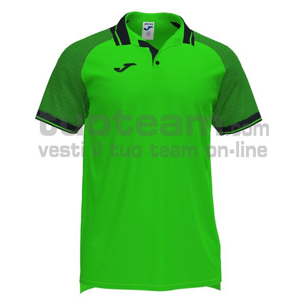 101509 - ESSENTIAL II POLO 100% polyester interlock - 021 VERDE FLUOR/ NERO