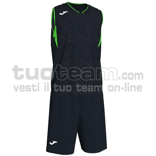 101373 - SET CANOTTA + SHORT BASKET CAMPUS 100% polyester interlock - 117 NERO / VERDE