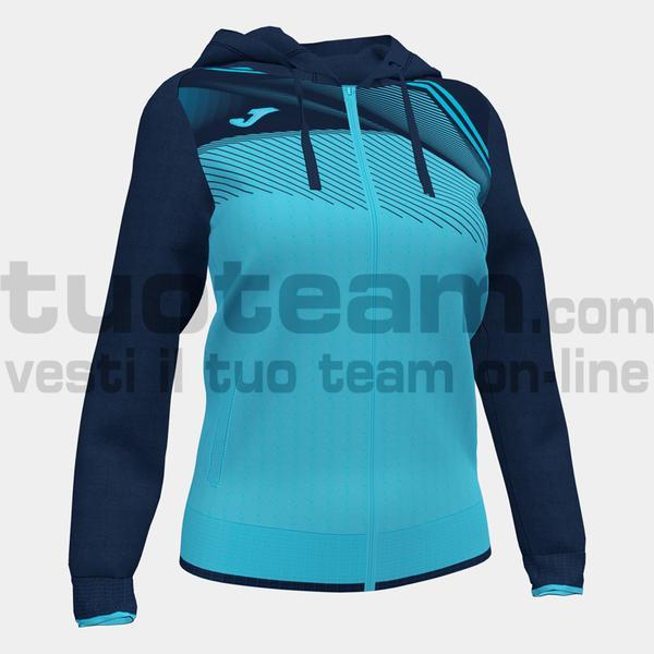 901067 - SUPERNOVA II WOMAN FELPA FULL ZIP CAPPUCCIO 100% polyester interlock - 013 TURCHESE FLUO