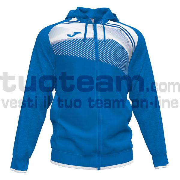 101605 - SUPERNOVA II FELPA FULL ZIP CAPPUCCIO 100% polyester interlock - 702 ROYAL / BIANCO