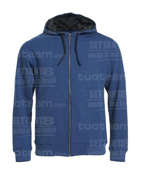 021044 - FELPA Classic Hoody Full Zip - 565 blu melange