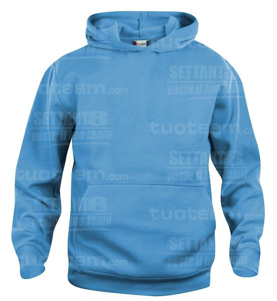 021021 - FELPA Basic Hoody Junior - 54 turchese