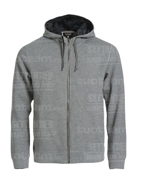 021044 - FELPA Classic Hoody Full Zip - 95 grigio melange