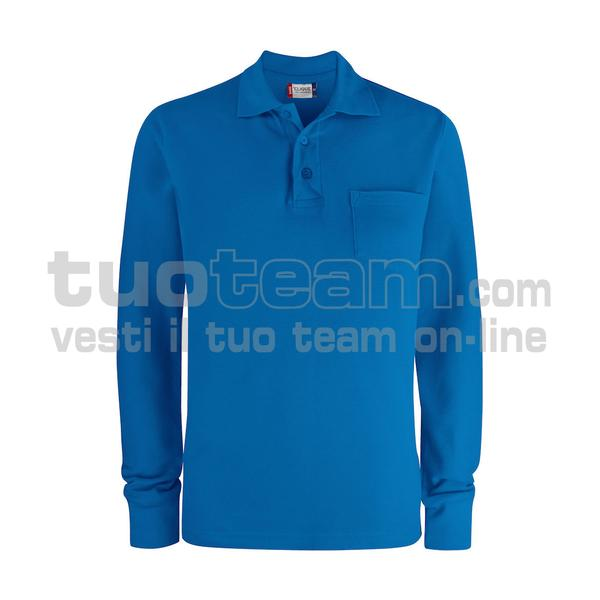 028235 - Basic Polo L/S w. Pocket - 55 royal