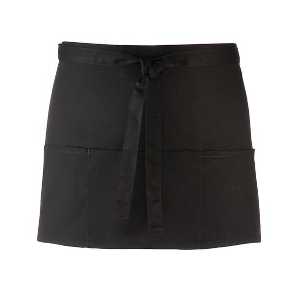 PR155 - GREMBIULE 'Colours Collection' Three Pocket Apron - BLACK