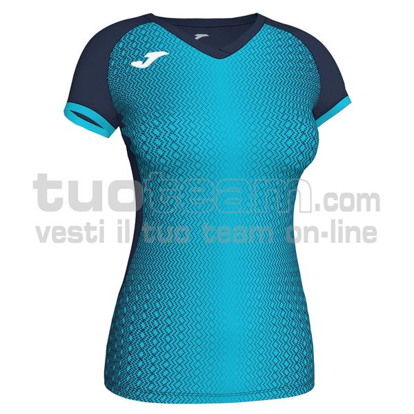 900890 - SUPERNOVA WOMAN MAGLIA MC 100% polyester interlock - BLU NAVY / TURCHESE FLUO