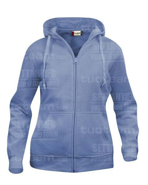 021035 - FELPA Basic Hoody Full zip Lady - 57 azzurro
