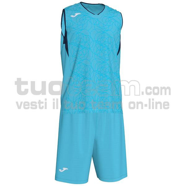 101373 - SET CANOTTA + SHORT BASKET CAMPUS 100% polyester interlock - 013 TURCHESE FLUO