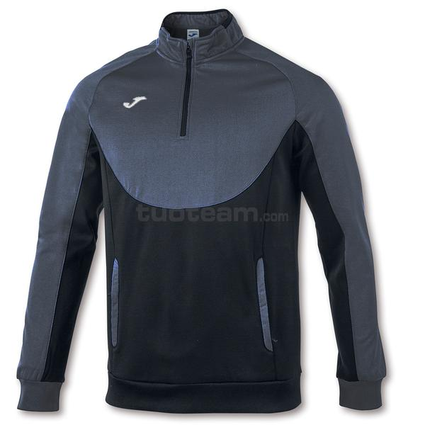 101102 - ESSENTIAL FELPA 1/2 ZIP 100% polyester fleece - 110 ANTRACITE / NERO