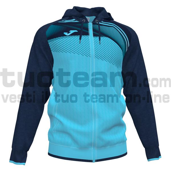 101605 - SUPERNOVA II FELPA FULL ZIP CAPPUCCIO 100% polyester interlock - 013 TURCHESE FLUO