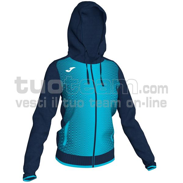 900891 - SUPERNOVA WOMAN FELPA FULL ZIP 100% polyester tricot - BLU NAVY / TURCHESE FLUO
