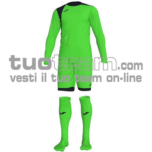 101300 - ZAMORA IV SET MAGLIA ML+SHORT+CALZ. 100% polyester interlock - 021 VERDE FLUOR/ NERO