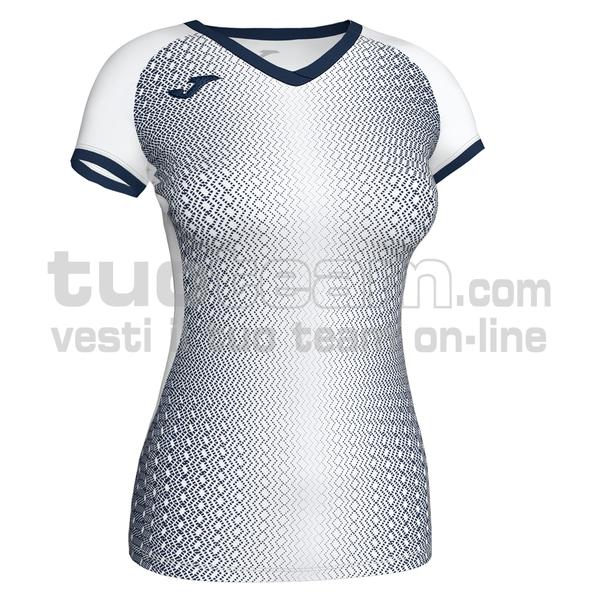 900890 - SUPERNOVA WOMAN MAGLIA MC 100% polyester interlock - 203 BIANCO / DARK NAVY