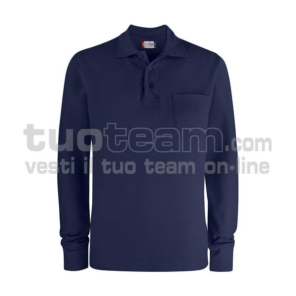 028235 - Basic Polo L/S w. Pocket - 580 blu