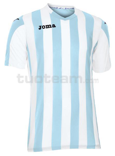 100001 - COPA MAGLIA MC 100% polyester tinto filo - 352 CELESTE/BIANCO