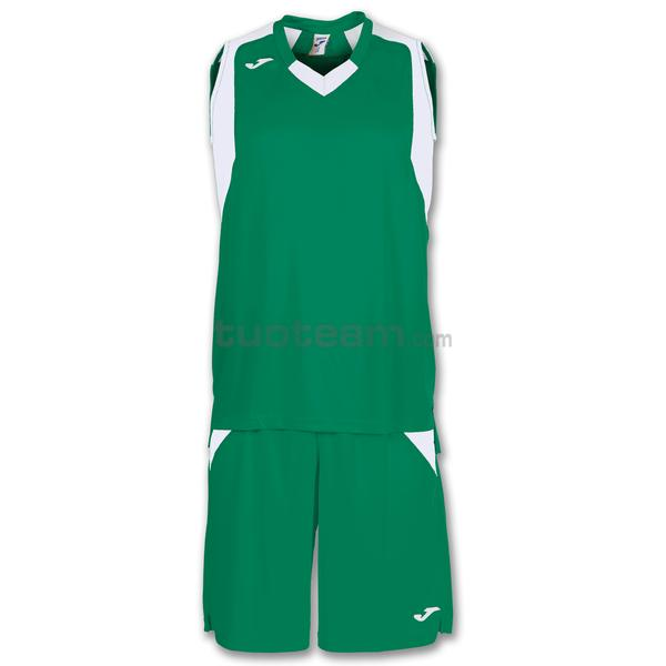 101115 - FINAL SET CANOTTA + SHORT 100% polyester interlock - 452 VERDE / BIANCO