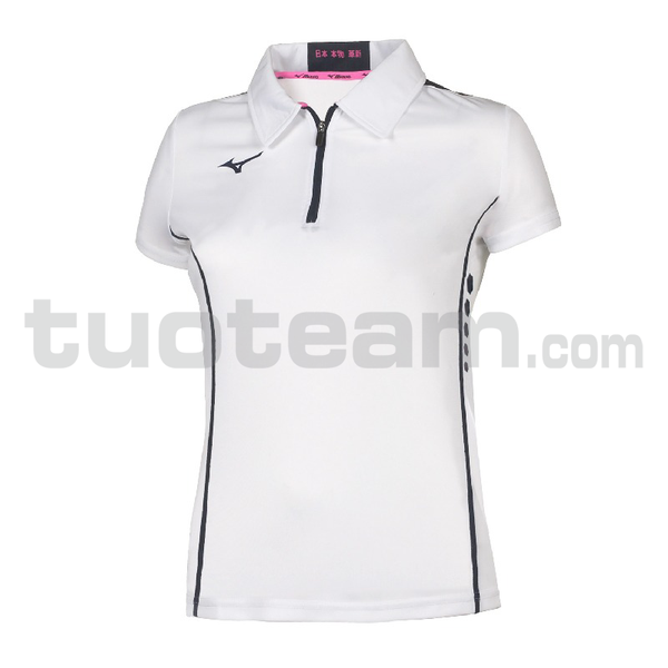 62EA7201 - Hex rect Zip Polo W - White/Royal