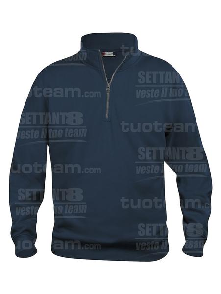 021033 - FELPA Basic Half Zip - 580 blu