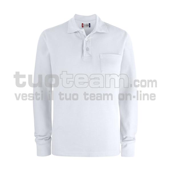 028235 - Basic Polo L/S w. Pocket - 00 bianco